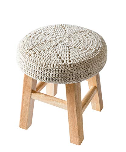 Mkono Small Upholstered Wood Foot Stool for Kids Decorative Stepstool Chair with Round Macrame Cover Cushion Vintage Home Decor, Four Legged