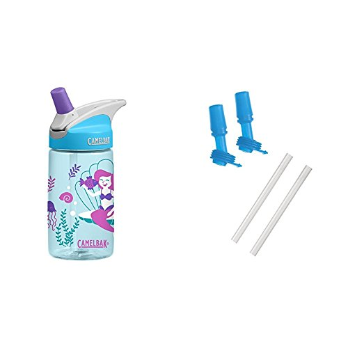 (Magical Mermaids Bottle with 2 Bite Valves/2 Straws)