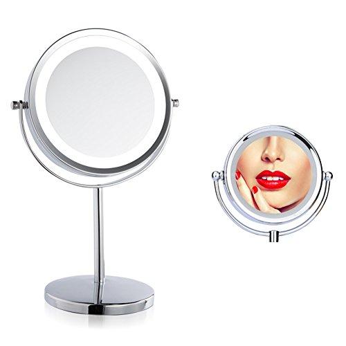 Espejo de maquillaje de siete pulgadas (7 '), doble cara de aumento 3X con bombillas LED para cosméticos y cuidado de la...