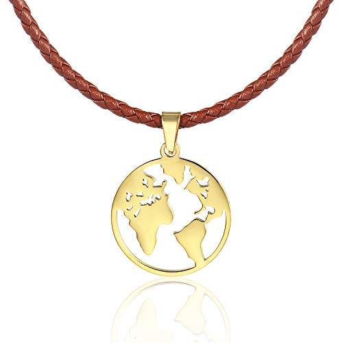Anlive World Map Necklace Mother Earth Necklace Long Distance Travel Gift (Braided Leather Gold ()