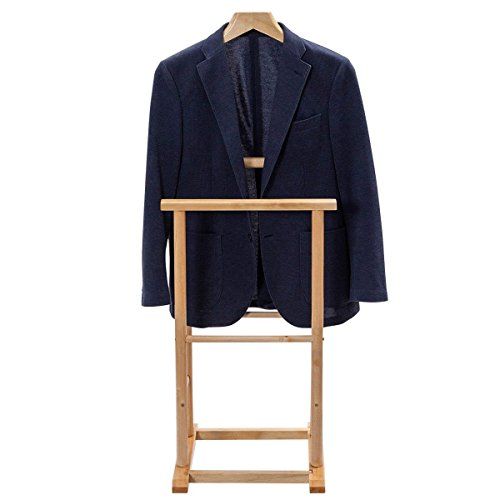 TANGKULA Clothes Valet Stand Holder Wood Men Portable Suit Coat Rack Hanger Stand Home Office (Birch)