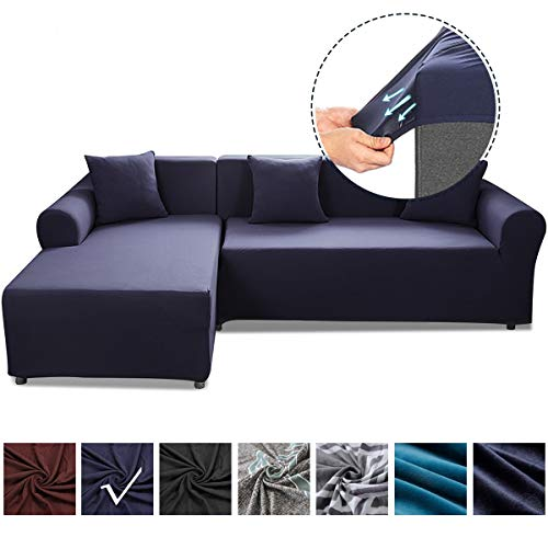 SAFETYON Sand Sofa Slipcover Elastic Sofa Cover Sets L Shape Stretch Furniture Cover Pet Dog Sectional/Corner Couch Covers Thin Velvet L-Type Flexible Sofa Cover 3-seat +3 seat Dark Blue