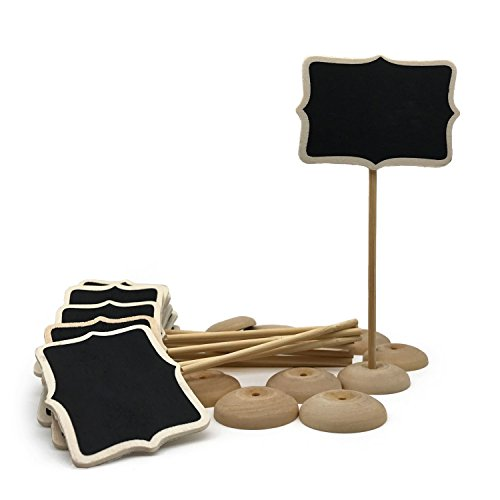 KEIVA 15 Mini Retangle Shape Chalkboard Blackboard with Stand Wooden Place Card Holder Table Numbe Favor Tag Plant Marker for Halloween Christmas Wedding Birthday Event Party decoration]()