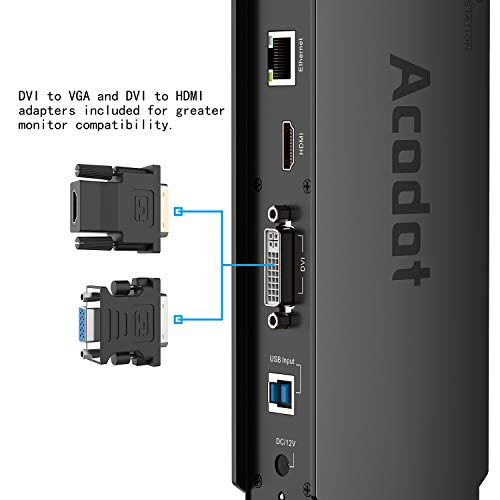 USB 3.0 Universal Laptop Docking Station, Acodot Dual Monitor Dock Support Windows Equipped with Dual HDMI and DVI/VGA, Gigabit Ethernet, Audio, 6 USB Ports