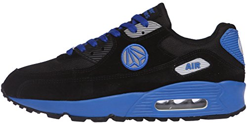 Paperplanes - 1101 Coussin d'Air Unisexe-Sneakers Coloré et tendance - Noir - Noir/bleu, 43,5