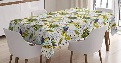 (Ambesonne New Orleans Tablecloth, Colorful Harlequin Masks Mardi Gras Pattern Roses and Leaves Carnival Theme, Dining Room Kitchen Rectangular Table Cover, 52 W X 70 L Inches,)