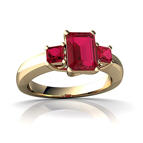 14kt Yellow Gold Lab Ruby 7x5mm Emerald_Cut Three Stone Trellis Ring - Size 9 (Ruby Trellis Ring)