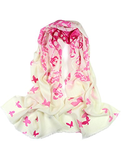 Dahlia Women's 100% Merino Wool Pashmina Scarf - Butterfly and Flower - Pink