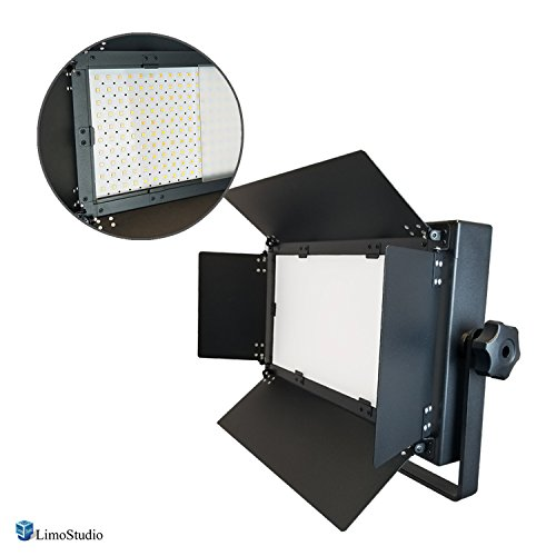 LimoStudio 210 Bi-color LED Dimmable Barn Door Lighting Panel for Photo Video with 3200K – 5600K Color Temperature Control, Selectable Lighting Zone Control, White Color Filter Gel, AGG2625 by LimoStudio