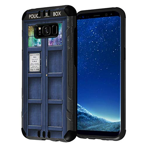 Double Cushion Booth - Capsule Case Compatible with Galaxy S8 [Hybrid Fusion Dual Layer Slick Armor Cushion Case Black] for Samsung Galaxy S8 SM-G950 SPHG950 - (Blue Phone Booth)