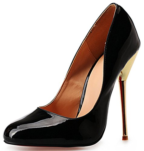 CAMSSOO Women's Peep Toe D'orsay Stiletto Slingback Ankle Strap High Heel Dress Pumps Shoes 4Black Patent PU GIOjFdGmZY