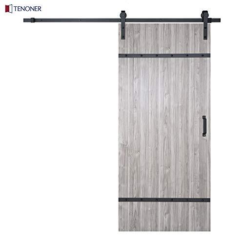 TENONER 36in x 84in Metal Cross Braces Sliding Barn Door, 6.6ft Barn Door Hardware Kit & Handle Included