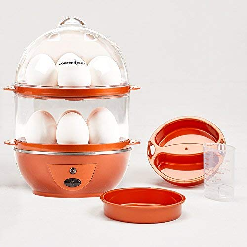 Copper Chef Want The Secret to Making Perfect Eggs & More C Electric Cooker Set-7 or 14 Capacity. Hard Boiled, Poached, Scrambled Eggs, or Omelets Automatic Shut Off, 7.5 x 6.7 x 7.5 inches, Red