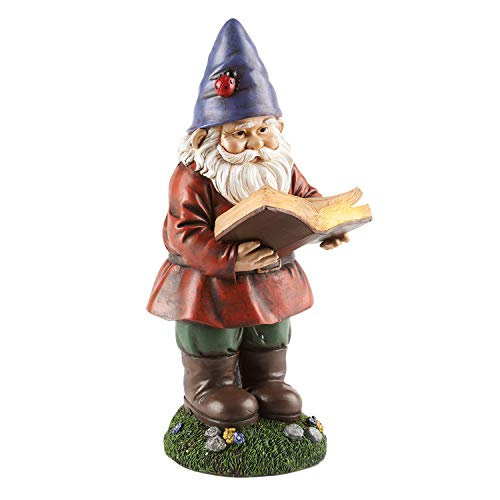 ART & ARTIFACT Lighted Reading Garden Gnome Statue - Solar Powered Light Up Lawn Patio Yard Decoration - 13