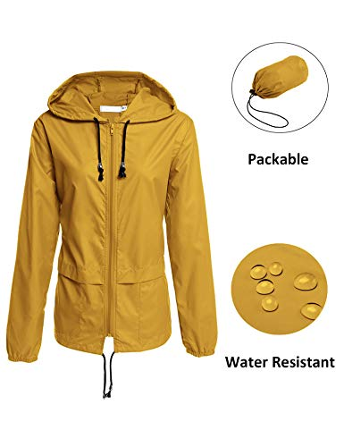 - Packable Lightweight Outdoor Raincoat,Rain Poncho Womens Waterproof Rain Coat Yellow XL