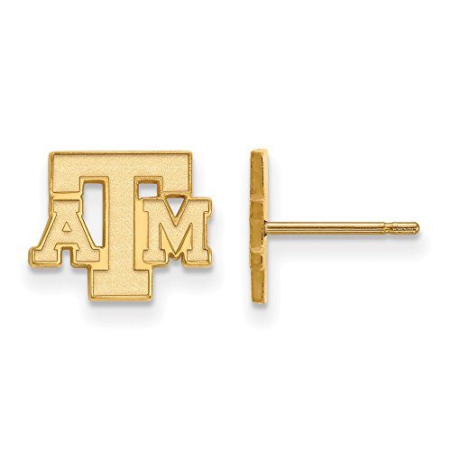 10k Yellow Gold LogoArt Official Licensed Collegiate Texas A&M University (TAMU) XS Post Earrings by LogoArt