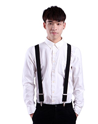 HDE Men's Big and Tall X-Back Clip Suspenders 1.5