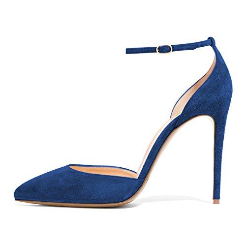 Fsj Vrouwen Sexy Enkelbandje Pompen Wees Teen Stiletto Hoge Hak Dorsay Kleding Schoenen Maat 4-15 Ons Blue Suede