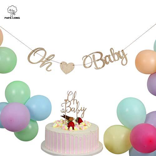 PAPA LONG Design Wood Oh Baby Decoration Set for Baby Shower Decorations-oh Baby Banner-oh Baby Cake topper-100pcs Balloons ()