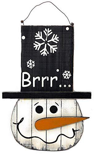 - D.I.D. Snowman Wood Sign Christmas Holiday Decoration for Door Wall Fireplace Indoor Outdoor 18