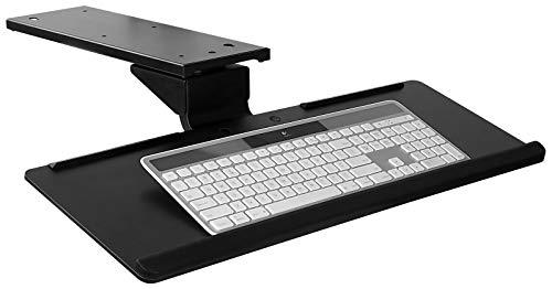 Mount-It! Under Desk Keyboard Tray and Mouse Platform, Ergonomic Computer Keyboard Drawer with Gel Wrist Pad, 17 inch Space Saving Track, Black (MI-7138) ()