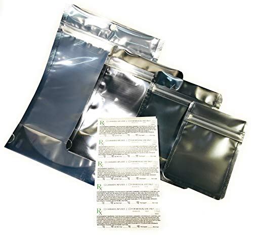 ⭐️ Cannabis Combo-Pack Mylar Bags (12 Each) Smell Proof ZipLock 1 Gram, 1/8 Ounce, 1/4 oz. and 1 oz. = 48 Bags. Heat Sealable w/Iron. Includes 50 New 2019 Compliant Rx Labels with mg THC & mg CBD ()