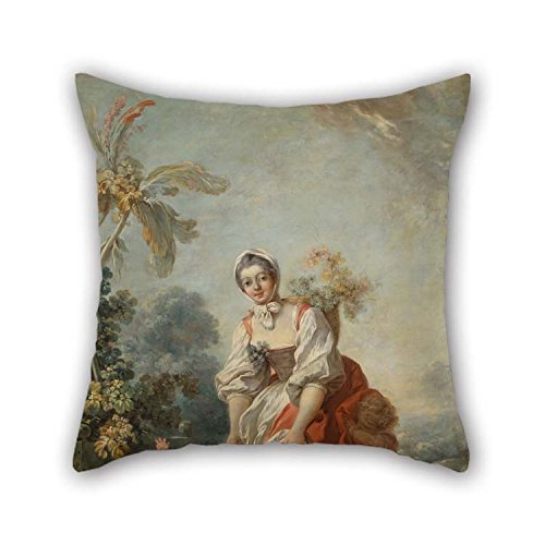 TonyLegner 18 X 18 Inches / 45 by 45 cm Oil Painting Fragonard, Jean-Honor?? - The Joys of Motherhood Throw Pillow Case Both Sides is Fit for Christmas Couples Boys Kitchen Husband Office (Echo Velvet Circle)