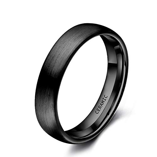 SOMEN TUNGSTEN 4mm Black Ceramic Rings Brushed Comfort Fit Engagement Wedding Band Size 4-13 (4mm(Ceramic), 10) ()