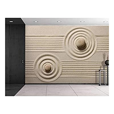 Rocks Over a Rippled Sand Effect and Straight Lines - Wall Mural, Removable Sticker, Home Decor - 100x144 inches