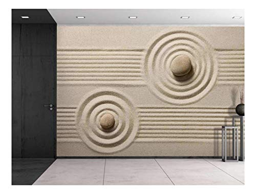 wall26 - Rocks Over a Rippled Sand Effect and Straight Lines - Wall Mural, Removable Sticker, Home Decor - 100x144 inches