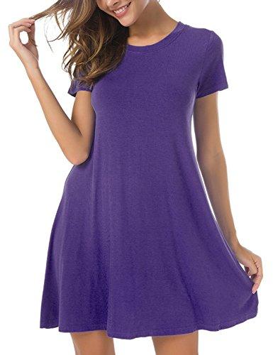 Herou Women Short Sleeve Loose Swing Casual T Shirt Tunic Long Sleeve Dress Medium Purple