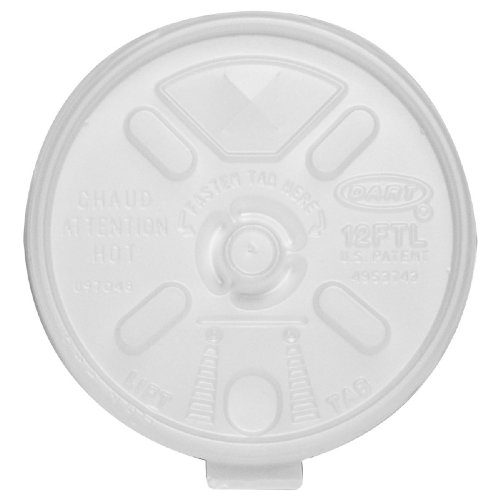 Styrofoam Cup Lift 'N Lock Lids ( LID, PULL BACK, FOR 12-24 OZ CUPS ) 1000 Each / Case