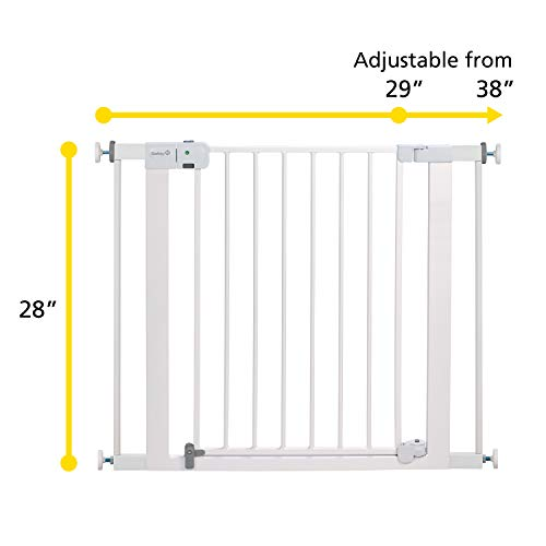41CbqjIJNnL Safety 1st Easy Install Auto-Close Baby Gate with Pressure Mount Fastening, White    Create child-friendly spaces in your home or on-the-go with the Safety 1st Easy Install Auto-Close Baby Gate with Pressure Mount Fastening. This sturdy baby gate can be opened with one hand and adjusted to fit doorways and openings ranging from 29 to 38 inches wide. Pressure-mounted installation requires no tools, drilling, or hardware and allows for setting up this baby gate quickly and easily in doors or pass-through areas. A magnetic latch causes the baby gate to close and lock automatically, and the SecureTech indicator tells you at a glance that the gate is secure. Easily create a safe space for children in your home or when visiting family and friends by using this 28-inch-high adjustable baby gate in doorways, hallways, staircases, and more. Includes one pressure-mounted baby gate. JPMA-certified baby gate meets ASTM standards for safety and includes a one-year limited warranty. Safety 1st believes parenting should have fewer worries and more joyful moments. As the first and only leader in child safety, Safety 1st is here to give you peace of mind so you can spend less time worrying and more time enjoying every first you experience with your child. To clean, wipe with a damp cloth and dry.