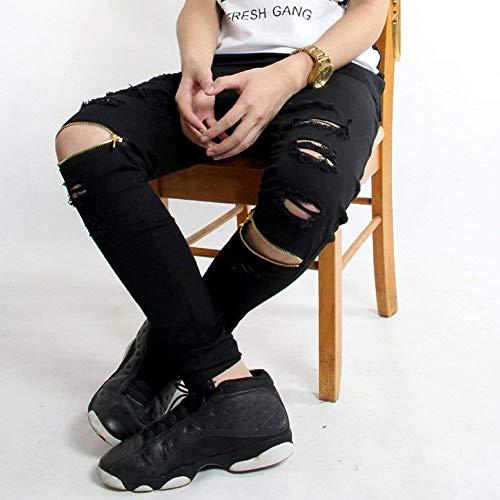 In Gamba Nero A Chiusura Casual Huixin Zip Jeans Pantaloni Denim Strappati Da Con Dritta Chern E Buchi Uomo Fit Slim Skinny w1RWZFq4Wz