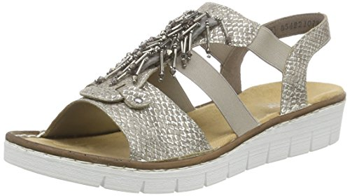 Rieker 60062 Women Open Toe, WoMen Open Toe Sandals Beige - Beige (Fango-silver / 64)