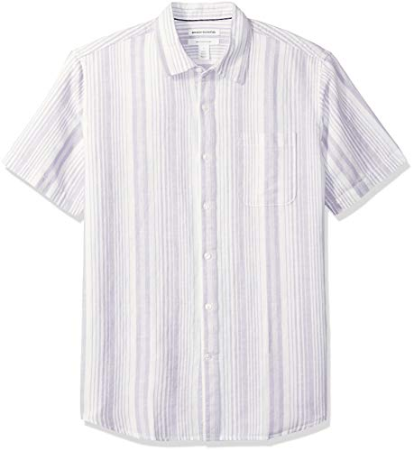 Amazon Essentials Men's Regular-Fit Short-Sleeve Stripe Linen Shirt, Lavendar, Large