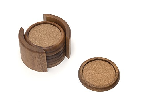 Lipper International 1036 Acacia Round with Cork Coasters and Caddy, 7-Piece Set