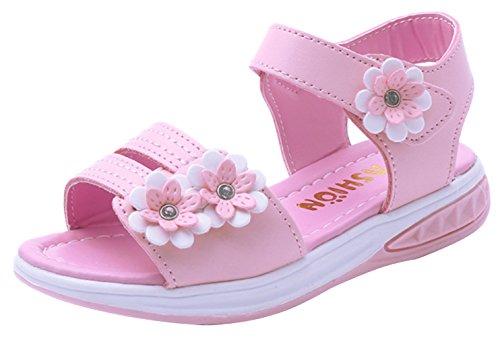 EOZY Mädchen Offene Sandalen Blumen PU Lauflernschuhe Römersandalen mit Keilabsatz Pink