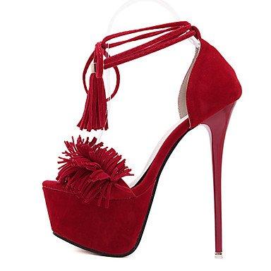 LvYuan Mujer-Tacón Stiletto-Otro-Sandalias-Vestido-Vellón-Negro Rojo Red