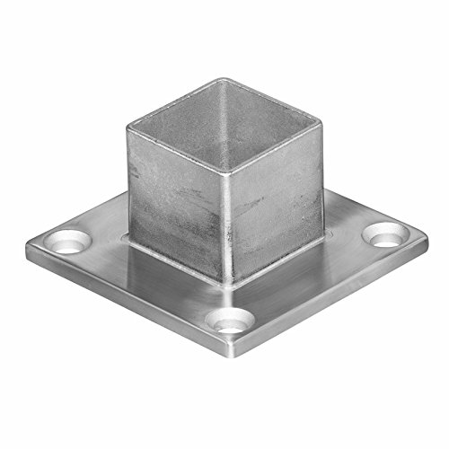 Stainless Steel Square Base Long Neck Floor Floor Flange Component Post Holder (For Intermediate Square Posts) (Tube Post Square)