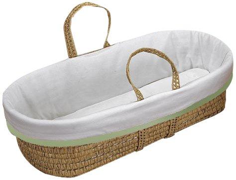 (Baby Doll Bedding Forever Mine Moses Basket, Sage)