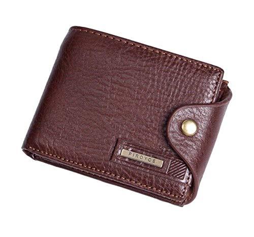 FidgetGear Billetera con Boton de Hombre Caballero de Cuero Para Efectivo Tarjetas Cafe at Amazon Mens Clothing store: