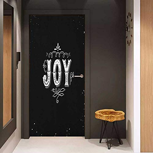 Self-Adhesive Wall Murals Joy Retro Style Phrase Joy Christmas Themed Floral Arrangement Calligraphy Ornate Design Sticker Removable Door Decal W17.1 x H78.7 Black White]()