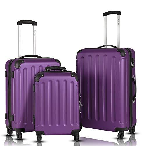 Goplus 3Pcs Luggage Set, Hardside Travel Rolling Suitcase, 20/24/28 Rolling Luggage Upright, Hardshell Spinner Luggage Set with Telescoping Handle, Coded Lock Travel Trolley Case (Purple)