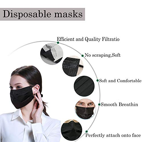 100 pack disposable face masks with elastic ear loop 3 ply