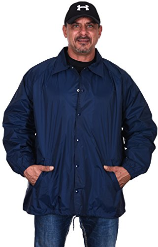 Renegade Men's Classic Lightweight Nylon Rain Jacket Windbreaker with Light Cotton Lining (2XL) (Snap Nylon Front Jacket)