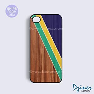 LJF phone case ipod touch 4 Tough Case - Wood Print Stripes iPhone Cover (NOT REAL WOOD)