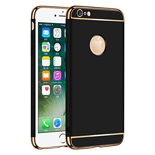 Zouzt 3-in-1 Slim Shell Hard Plastic Full Protective Cover Case Compatible with iPhone 6 & iPhone 6s(Black)