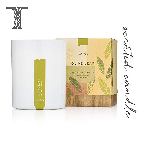 Thymes - Olive Leaf Aromatic Scented Candle - Long Lasting Fresh Scent with Gift Box - 9 oz - Passion Flower Candle Scent