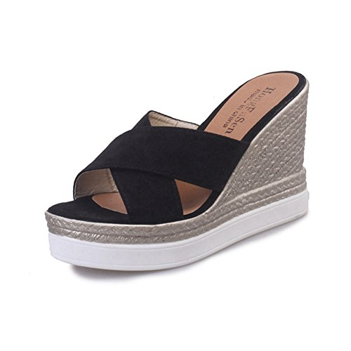 T-JULY Women Suede Espadrille Sandal High Heel Slide Sandals Wedge Platform Summer Slippers Black ()